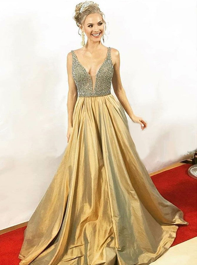 A-Line V-Neck Floor-Length Pleated Gold Taffeta Beaded Prom Dresses, TYP1393