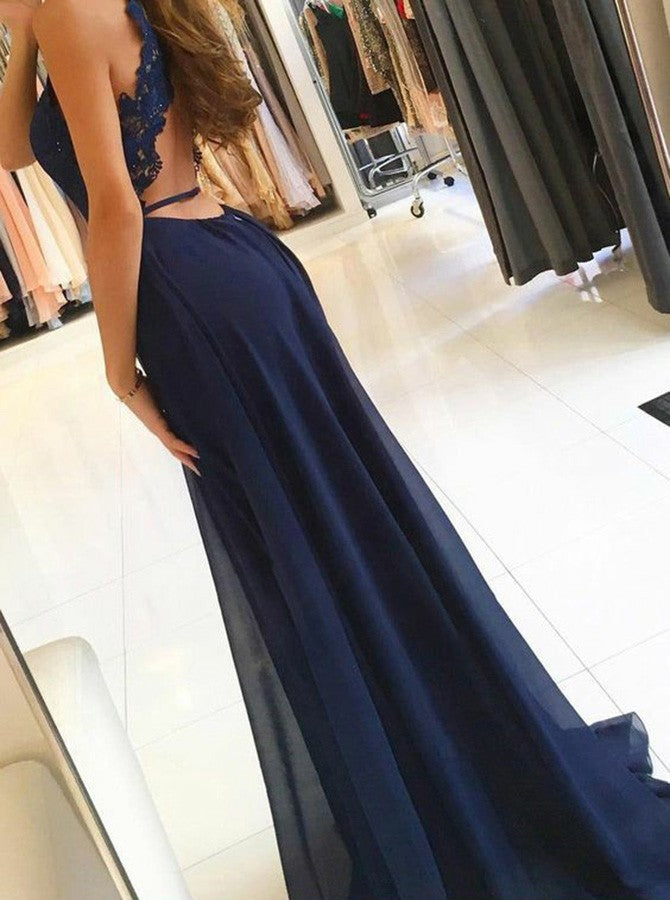 A-Line Round Halter Navy Blue Chiffon Prom Dresses with Lace Split, TYP1528