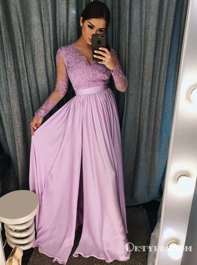 A-Line V-Neck Purple Satin Prom Dresses with Appliques Beading, TYP1890