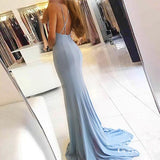 Mermaid V-Neck Split Front Light Blue Stretch Satin Prom Dresses Online, TYP1254