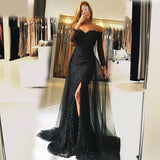 Mermaid Off Shoulder Detachable Train Black Tulle Prom Dresses with Beading&Lace, TYP1259