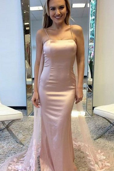 Mermaid Spaghetti Straps Long Cheap Blush Pink Prom Dresses with Appliques Beading, TYP1349