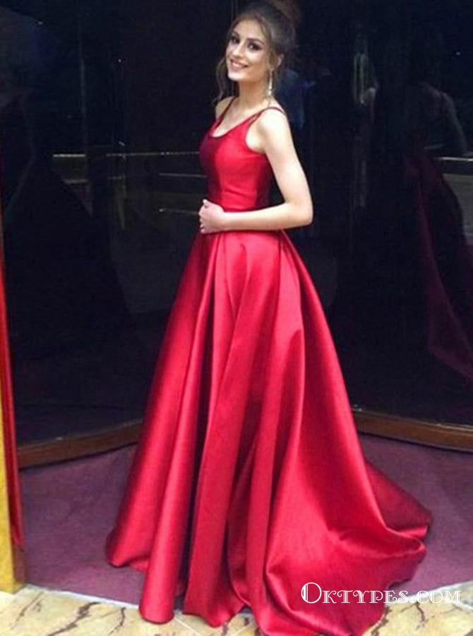 A-Line Round Neck Long Cheap Red Satin Prom Dresses, TYP1388