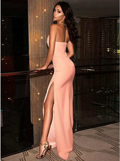 Sheath Strapless Pink Stretch Satin Long Cheap Prom Dresses with Split, TYP1884