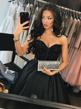 A-Line Sweetheart Navy Blue Satin Prom Dresses with Beading, TYP1387