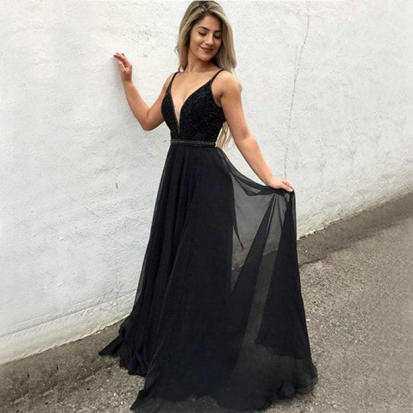 A-Line V-Neck Long Cheap Black Chiffon Prom Dresses with Beading, TYP1261