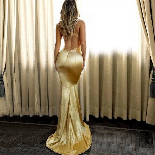 Mermaid V-Neck Long Cheap Backless Gold Satin Prom Dresses, TYP1276