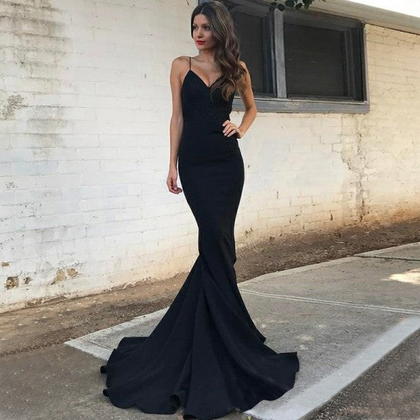 Mermaid Spaghetti Straps Long Cheap Black Stretch Satin Prom Dresses, TYP1260