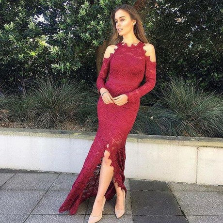 Mermaid Round Neck Split Front Long Sleeves Burgundy Lace Prom Dresses, TYP1266