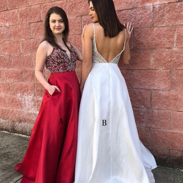 A-Line Deep V-Neck Long Cheap Red Satin Prom Dresses with Beading Pockets, TYP1270