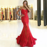 Mermaid Spaghetti Straps Sweep Train Red Tulle Prom Dresses with Lace&Beading, TYP1258