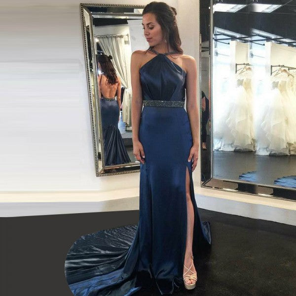 A-Line Halter Backless Court Train Dark Blue Satin Prom Dresses with Beading, TYP1272