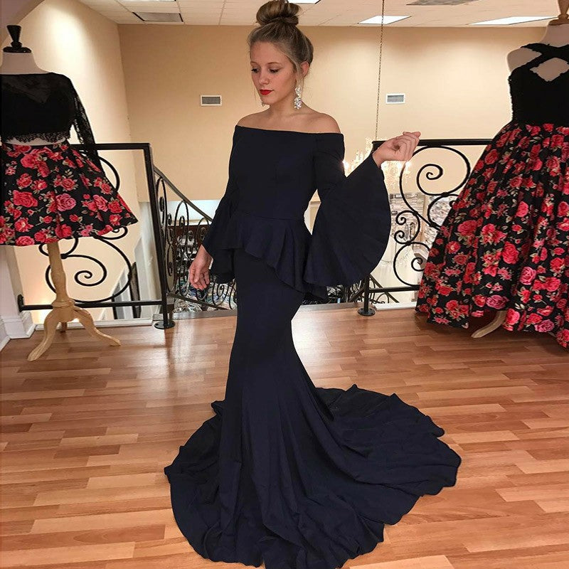 Mermaid Off-the-Shoulder Flare Sleeves Navy Blue Prom Dresses, TYP1440