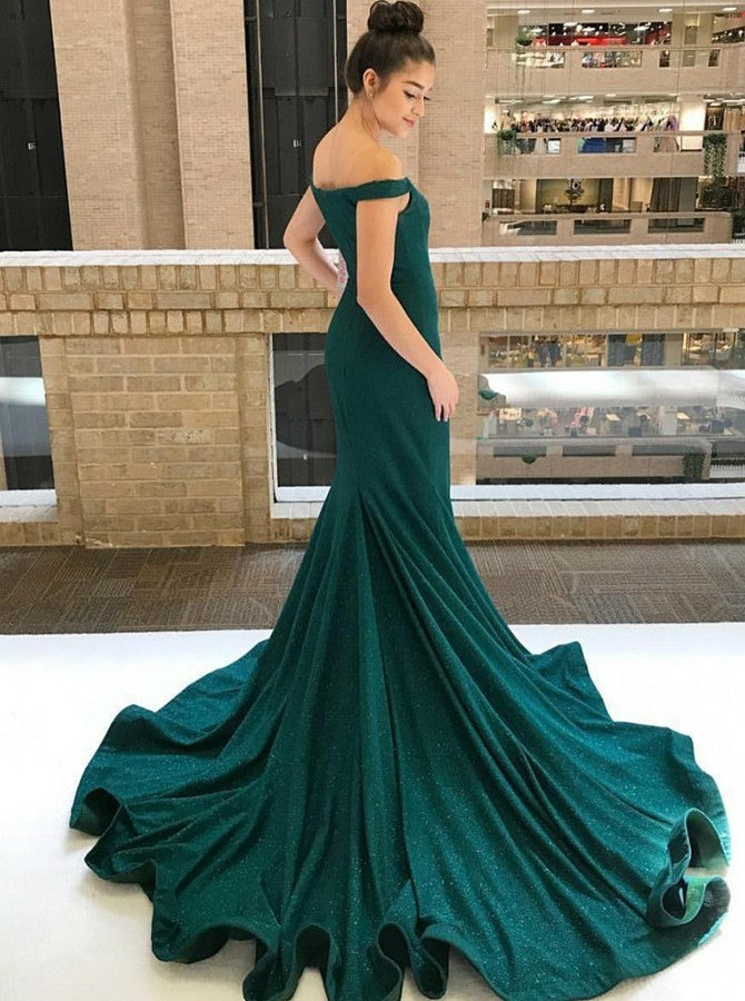 Mermaid Off-the-Shoulder Green Satin Prom Dresses with Beading, TYP1333