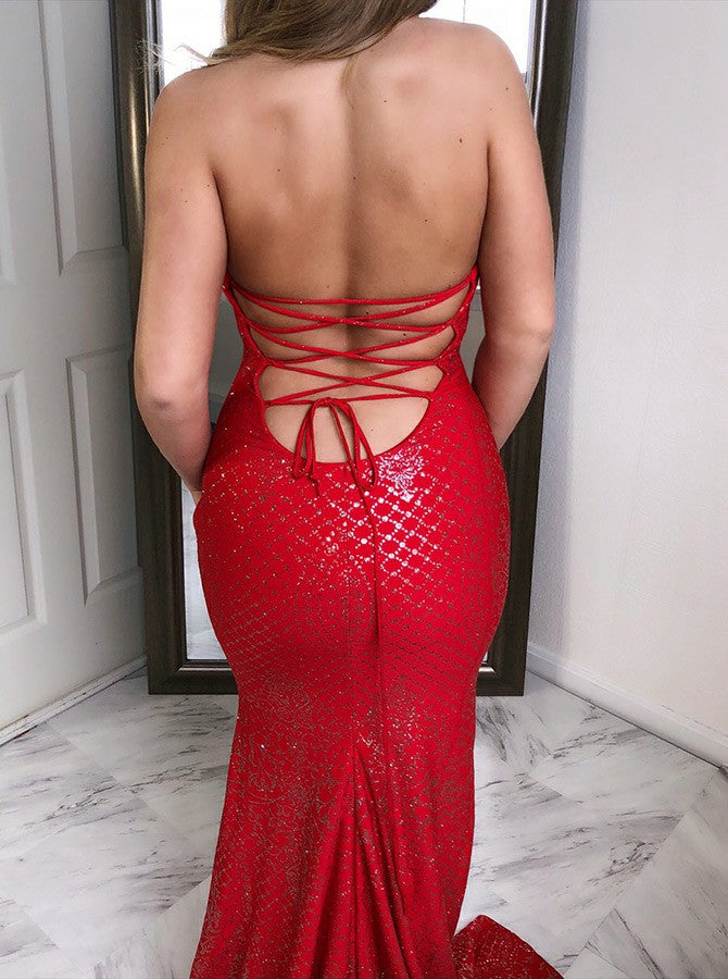 Sheath Jewel Long Cheap Backless Red Sequin Prom Dresses Online, TYP1339