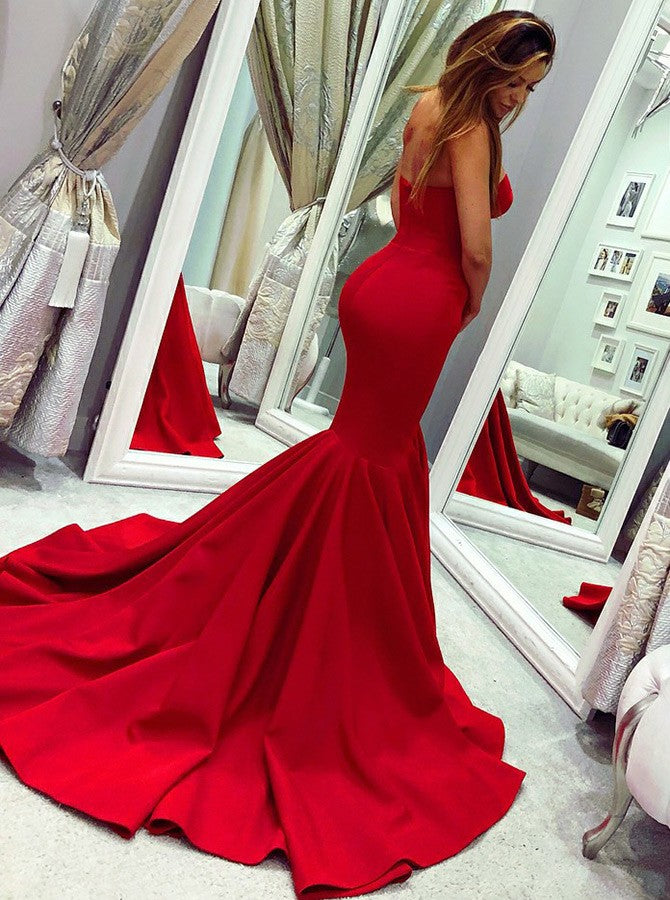 2019 Mermaid Sweetheart Long Sweep Train Red Satin Prom Dresses, TYP1505
