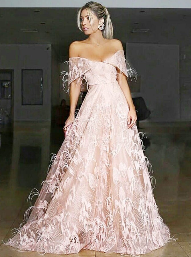 A-Line Off-the-Shoulder Sweep Train Pink Lace Prom Dresses with Feather, TYP1509
