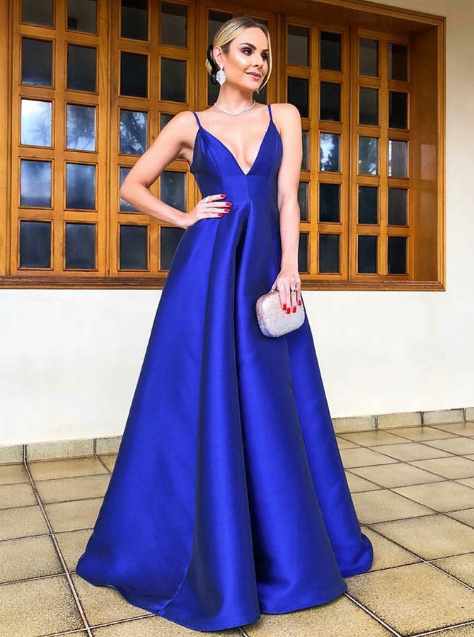2019 A-Line Spaghetti Straps long Royal Blue Satin Prom Party Dresses, TYP1503