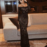 Mermaid Off Shoulder Long Sleeves Black Beaded Long Prom Dresses with Lace, TYP1674