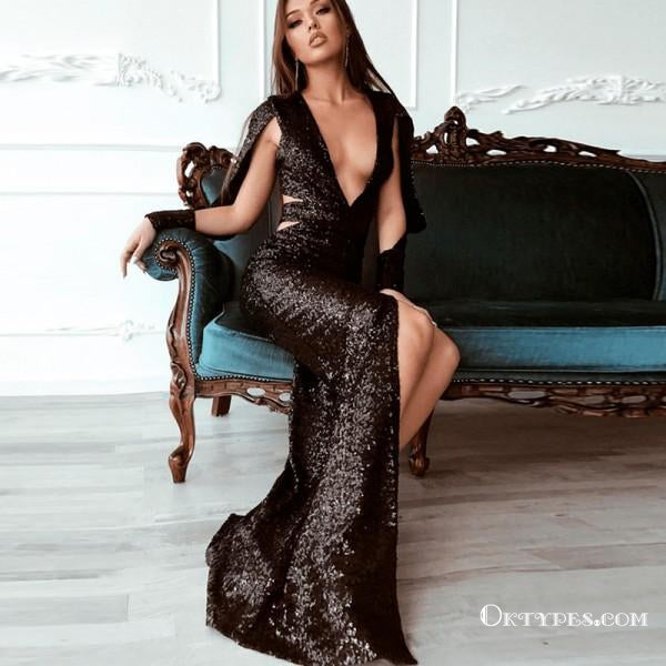 c6c3310a767c Sparkly Mermaid Deep V-Neck Long Sleeves Black Sequin Long Prom Dresses,  TYP1627