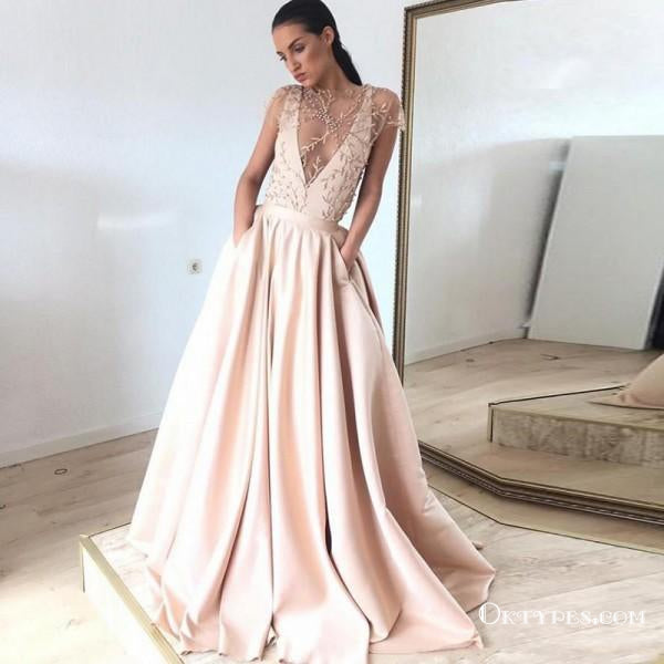 A-Line Illusion Jewel Short Sleeves Blush Pink Long Prom Dresses with Appliques&Pockets, TYP1629