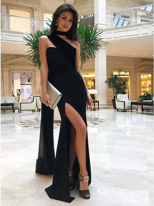 Unique Design Sheath Strapless Split Front Black Chiffon Prom Dresses, TYP1687