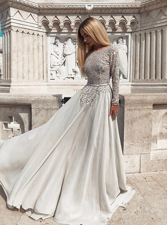 2019 Modest Grey Long Sleeves Backless Prom Evening Dresses with Beaded, TYP1492