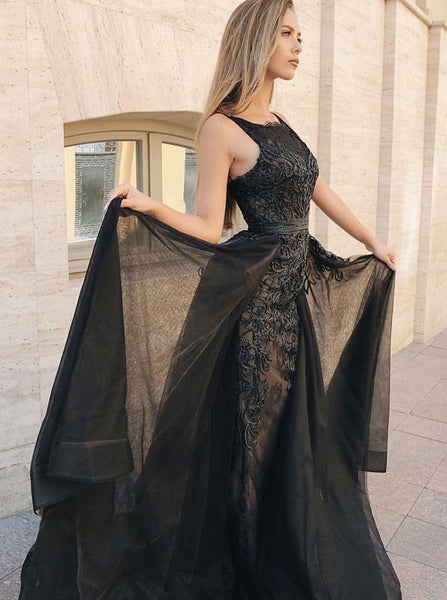 Mermaid Black Chiffon Sleeveless Prom Dress with Detachable Train Appliques, TYP1496