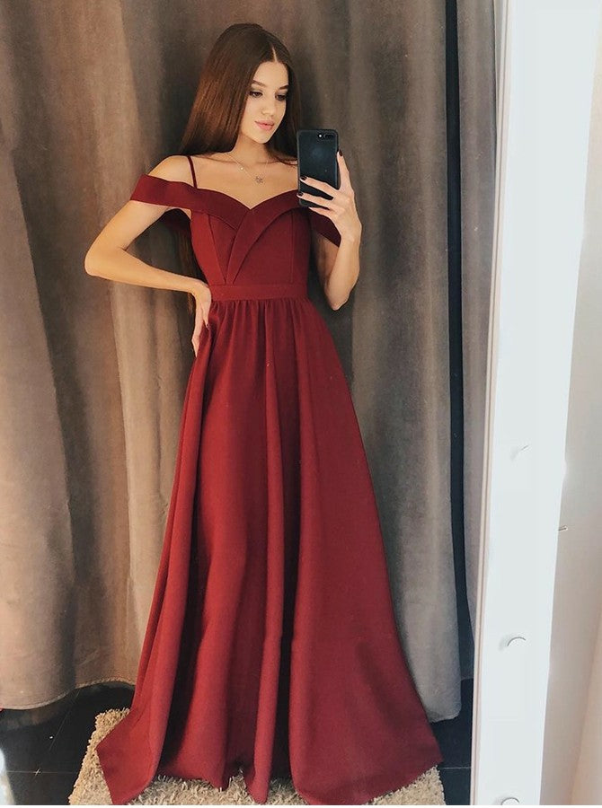 Newest Decent Cold Shoulder Burgundy Long Prom Evening Dresses, TYP1498