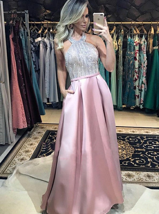 2019 Sparkle Halter Pink Backless Prom Dresses with Pockets, TYP1502
