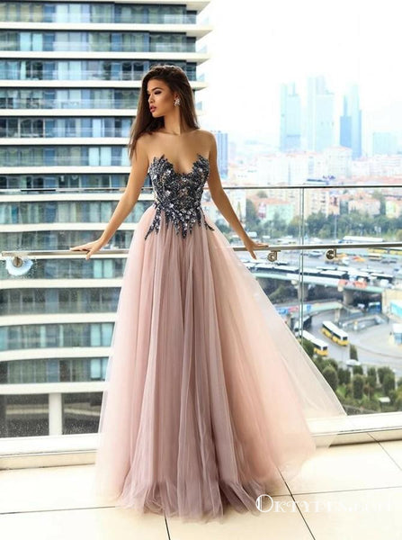 62d8bf02596 Delicate Illusion Round Neck Blush Prom Dresses with Appliques Beading
