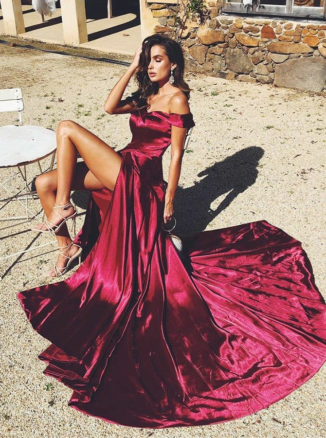 Charming Off Shoulder Split Sweep Train Fuchsia Prom Dresses, TYP1578