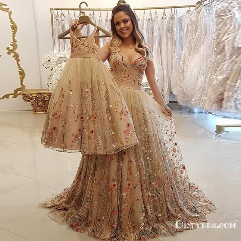 A Line Spaghetti Straps Champagne Prom Dresses With Appliques, TYP1821