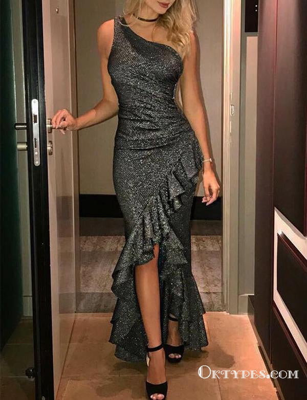 One Shoulder Grey Sequin Long Mermaid Evening Gowns Prom Dresses, TYP1679