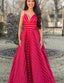 Fashion A Line Spaghetti Straps Red Long Evening Prom Party Dresses, TYP1516
