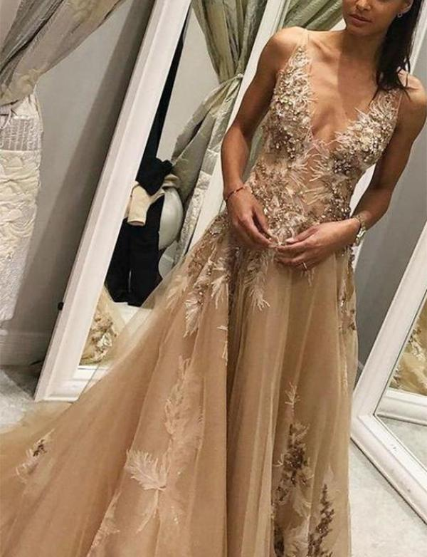 Deep V Neck Champagne Tulle Evening Prom Dresses With Feathers Beading, TYP1515