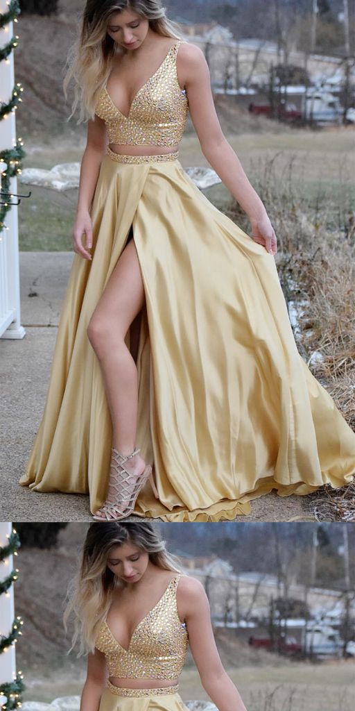 Two Piece Top Sequin Prom Dresses, Long Side Split V-neck Prom Dresses, TYP0443