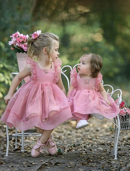 Simple Cute Tulle Dusty Pink Sleeveless Popular Little Girl Dresses, TYP0990