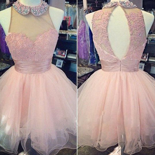 Pink high neck lace off shoulder high neck freshman homecoming prom dress, TYP0158