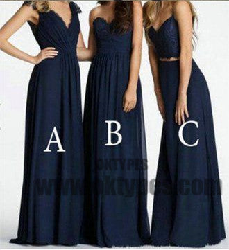 2018 Newest Prom Dresses, Dark Blue Long Floor Length Chiffon Prom Dresses, TYP0376
