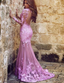 Mermaid Long Sleeves Open Back Purple Tulle Prom Dress with Lace Appliques, TYP1287