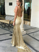 Mermaid V-Neck Backless Gold Sequined Prom Dresses with Appliques, TYP1288