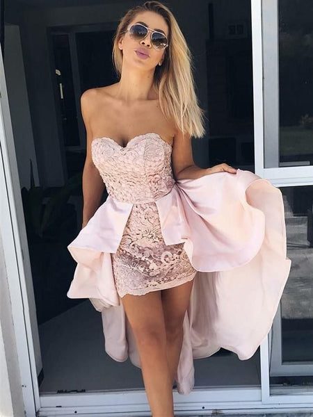 Tight Sweetheart Pink Lace Homecoming Dresses with Detachable Train, TYP1064