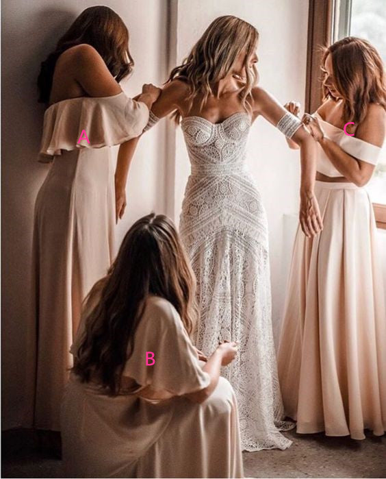 Mismatched Off-the-Shoulder Long Cheap Pink Chiffon Bridesmaid Dresses Online, TYP1135