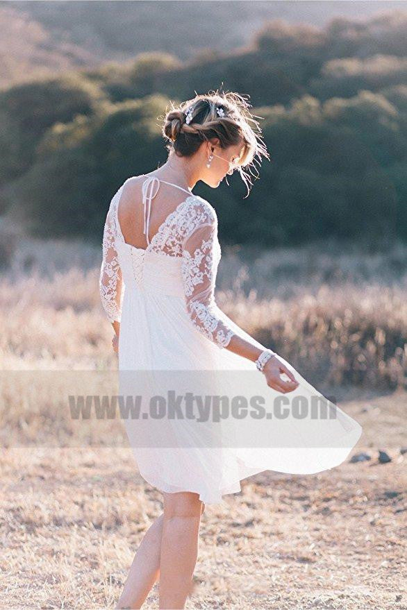 Cheap Long Sleeve Lace Short Beach Wedding Dresses, TYP0817