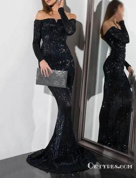 Sequin Long Sleeve Off the Shoulder Black Evening Gowns Prom Dresses, TYP1902
