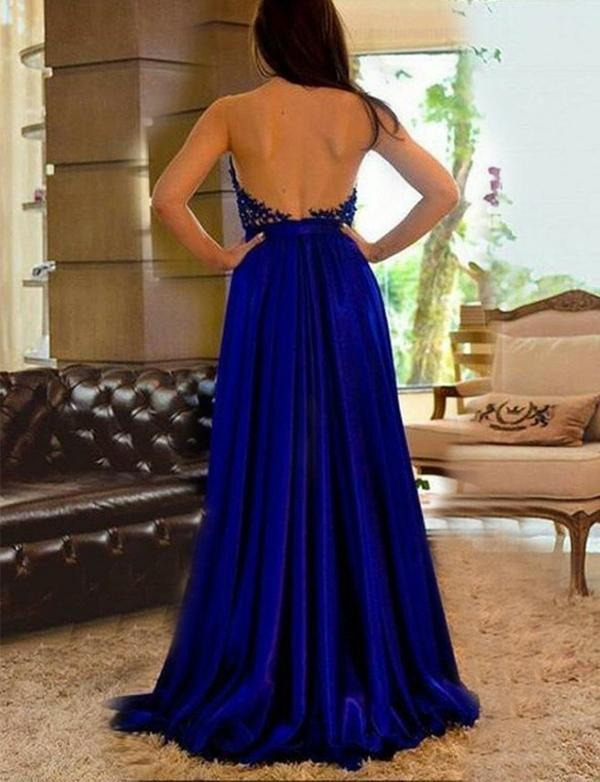 A Line Royal Blue Long Satin Prom Dresses with Split&Beaded, TYP1598