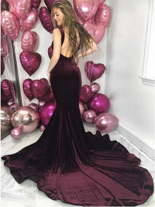 2019 Elegant Dark Burgundy Velvet  Long Court Train Prom Dresses, TYP1594
