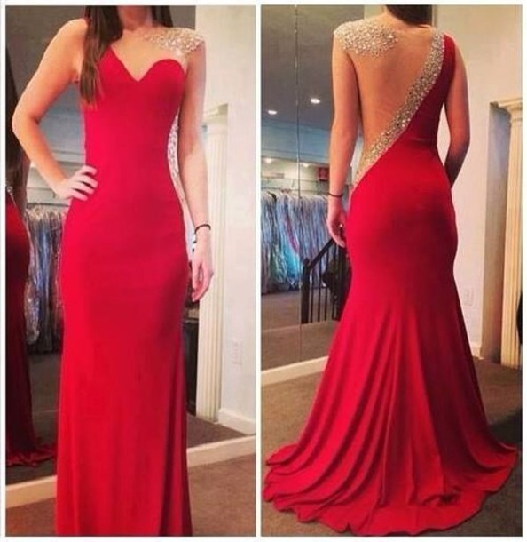 Red Long Prom Dresses, Elegant Red Jersey Prom Dresses, Beading Mermaid Prom Dresses, Yarn Prom Dresses, Illusion Sleeveless Prom Dresses, TYP0069