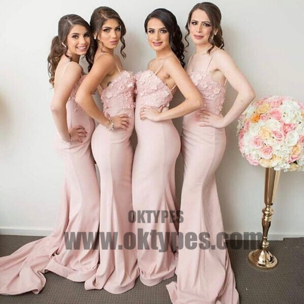 Newest Spaghettis Straps Backless Appliques Mermaid Sleeveless Pink Bridesmaid Dresses, TYP0419